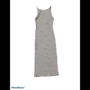 J.O & CO spaghetti strap striped maxi dress LG